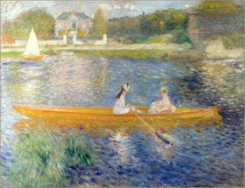 Cuadro sobre Lienzo 80 x 60 cm: The Seine at Asnieres de Pierre-Auguste Renoir - Cuadro Terminado, Cuadro sobre Bastidor, lámina terminada sobre Lienzo auténtico, impresión en Lienzo