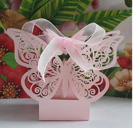 - Worldoor 50PS Laser Cut Wedding Candy Box Favor Gifts Boxes Wedding Party Centerpieces Holiday Supplies/Wedding Hollow Butterfly Candy Box (Pink)