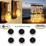 Solar Mason Jar Lid Lights, ATKKE 6 Pack 20 Led String Fairy Star Firefly Jar Lids Lights, 6 Hangers and Jars Not Included, Best for Regular Mouth Mason Jar for Patio Yard Garden Party Wedding Christmas Decorative Lighting (Warm White) LG06