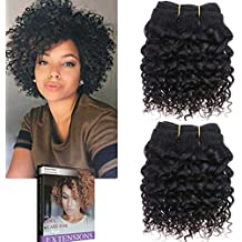 Emmet 2pcs/lot 100g Short Wave 8Inch Brazilian Kinky Curly Human Hair Extension, with Hair Care Ebook (1B#)