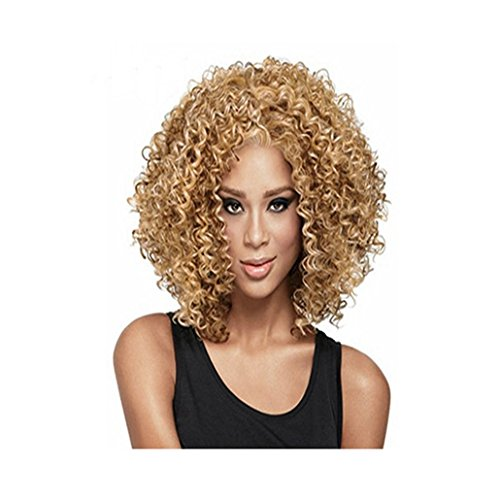 Longlove Short curl heat resistant wig for women with wig cap Long Curly Wavy Heat Resistant Wigs for Women with Wig Cap (Gold) -