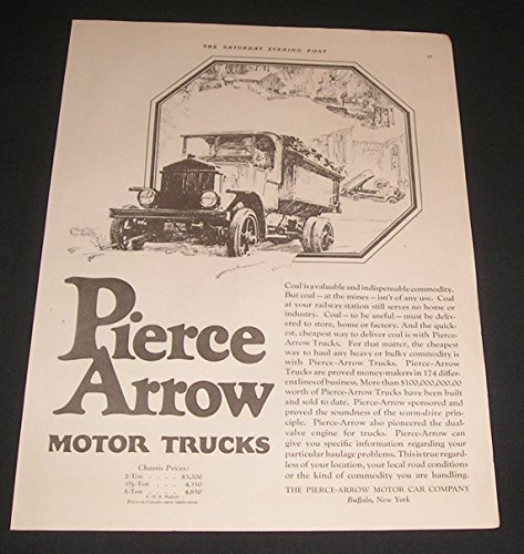 1922 PRINT AD The Pierce-Arrow Motor Car Co, Heavy Duty Motor Trucks, Buffalo, New York, Original Vintage Magazine Advertisement / Collectible Paper Ephemera (Pierce Arrow Buffalo)