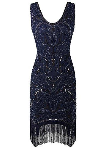 Vijiv Vintage Style Beaded Charleston Sequin Deco Fringe 1920s Flapper Dress (Christmas Themed Dresses)