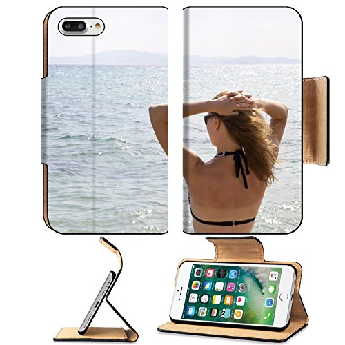 Luxlady Premium Apple iPhone 7 Plus Flip Pu Leather Wallet Case iPhone7 Plus 34142321 Beautiful young girl in bikini on a beach - Beach Reviews Sugar