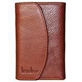Levelive Italian Genuine Leather Stud-snap Billfold Men's Trifold Wallet Brown