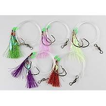 10 Packs Fishing Sabiki Baits Rigs Fishing Flasher Lures Hooks with Ball Bearing Swivel and Luminous Fishing Beads Yellow/Pink/Purple/Red/Green