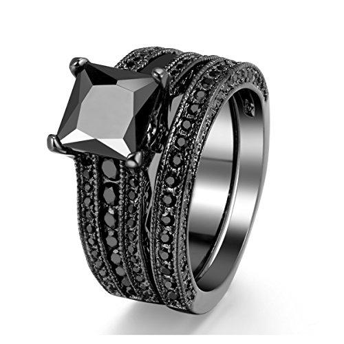 Black Gold Sapphire Princess Cut CZ Wedding Engagement Band Bridal Rings Jewelry Set