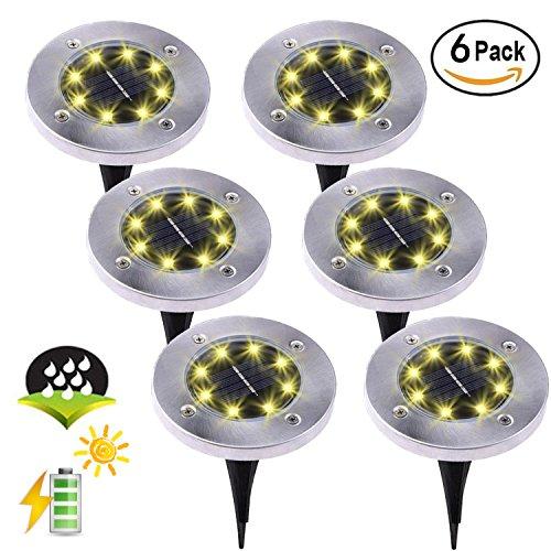 ZFLTEI Solar Ground Waterproof Lights,Garden Pathway Outdoor in-Ground Lights with 8 LED (6 Pack) Warm White Lights by ZFLTEI