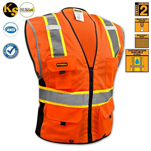 Deluxe Vest Pocket (KwikSafety Class 2 Deluxe Safety Vest | Comfortable Reflective Breathable Mesh w/ Contrast Trimming & Heavy Duty Zipper | Construction Motorcycle Traffic Running Emergency | Men Women | Orange)