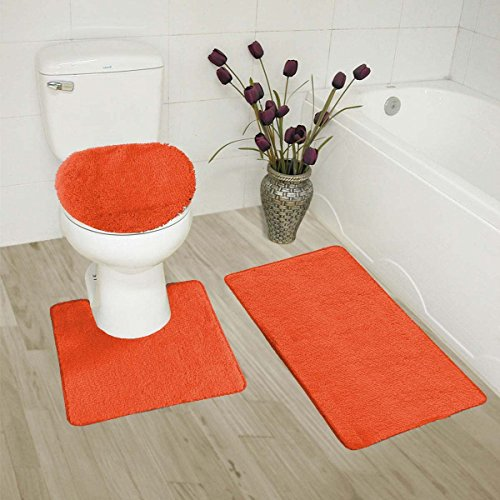Mk Home Collection 3 Piece Bathroom Rug Set Bath Rug, Contour Mat & Lid Cover Non-Slip With Rubber Backing Solid Orange (Orange Bath Set)