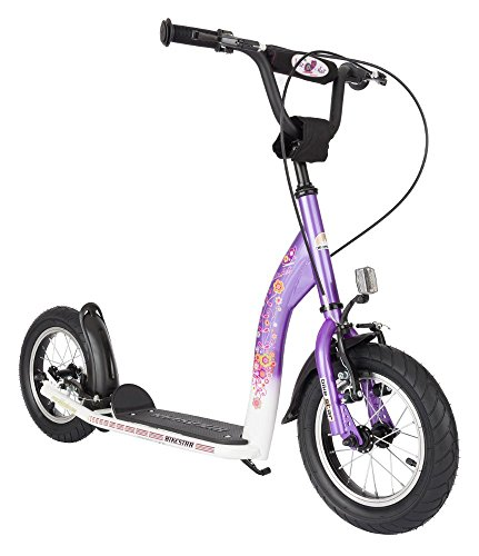BIKESTAR® Original Safety Pro Sport Push Kick Scooter Kids with brakes, mudguard and air tires for age 7 year old children | Sport Edition with Alloy Wheels 12 Inch | Candy Lila