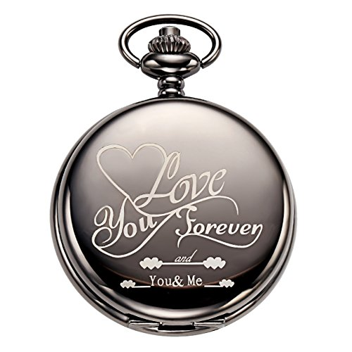 Wedding Gift Fob Watch with Carved Wishes on Cover Vintage Skeleton Pocket Watch