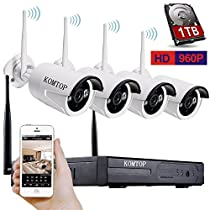 VOYAGEA Wireless Security Cameras 4Ch 960P NVR HD Security [1.3 Megapixel] Wireless CCTV Wireless Weatherproof Bullet IP Cameras 4 x 960P Hard Disk 1TB Plug and Play Camera Kit