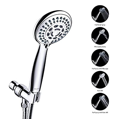 CLOFY 28-Setting Combo Shower Head with Stainless Steel Hose, Water Saving Detachable Handheld & Rain Shower Head, Full-Chrome Finish