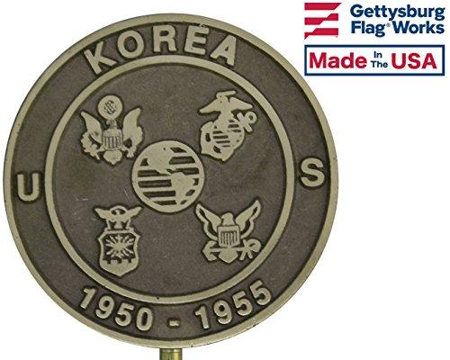 Gettysburg Flag Works Korean War Bronze Veteran Grave Marker for Cemetery, Memorial Flag Holder, Made in USA