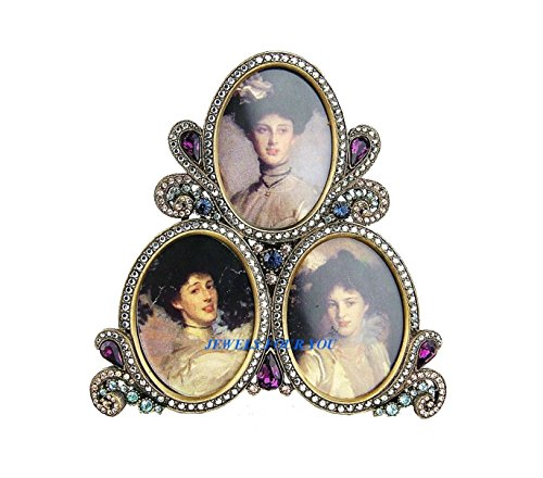 JAY STRONGWATER TRIPLE OVAL ANTIQUE GOLD FRAME (Oval Frame Triple)