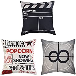 Uarter Decorative Throw Pillow Case Set Cotton Linen Throw Pillow Covers Cushion Cover with Invisible Zipper, Movie Theater Pattern, 18'' 18'', Set of 3