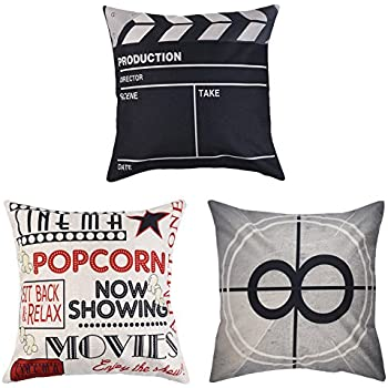 Uarter Decorative Movie Throw Pillow Case Set Cotton Linen Throw Pillow Covers Cushion Cover with Invisible Zipper, Movie Theater Pattern, 18'' 18'', Set of 3
