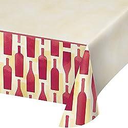 "Creative Converting 324452 Sip Hooray Border Print Plastic Table Cover, 54"" x 102"""