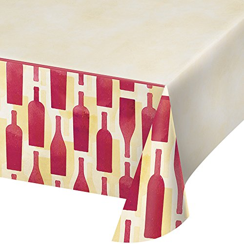 Creative Converting 324452 Border Print Plastic Tablecover, 54 x 102-Inch, Sip Hooray, One Size, Table -
