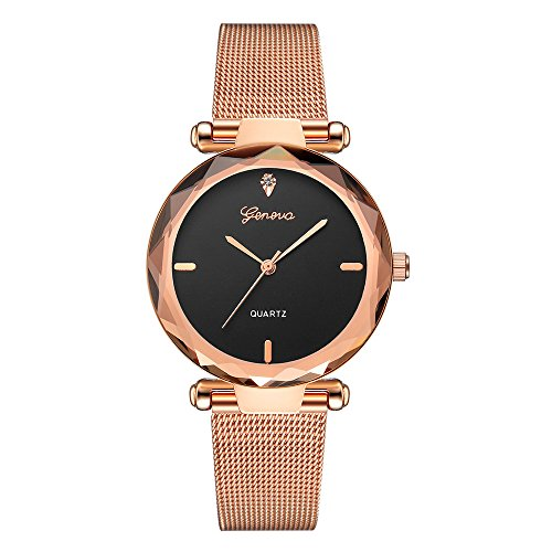 Starry Sky Watch for Women, Crystal Dial Analog Quartz Wristwtach with Buckle Mesh Steel Band Bravetoshop ()