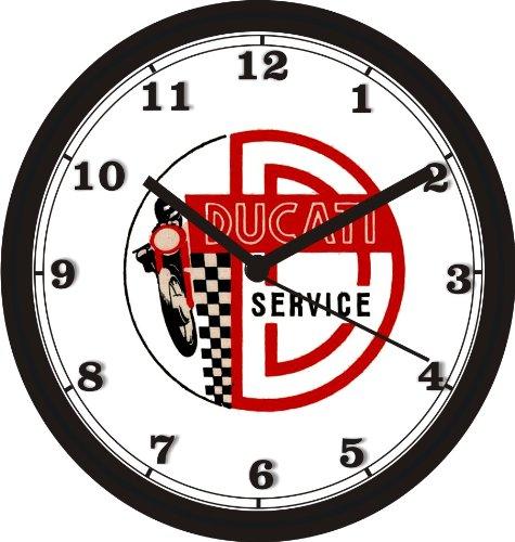 DUCATI MOTORCYCLE SERVICE LOGO WALL CLOCK-Free USA Ship ()