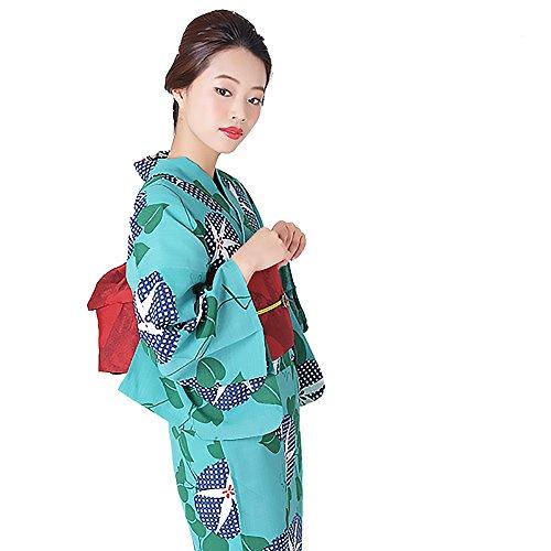 翻訳する販売計画廃棄[ KIMONOMACHI ] オリジナル 女性浴衣3点セット 「グリーン×ブルー 朝顔」 浴衣+帯+下駄フリーサイズ_GT-F_