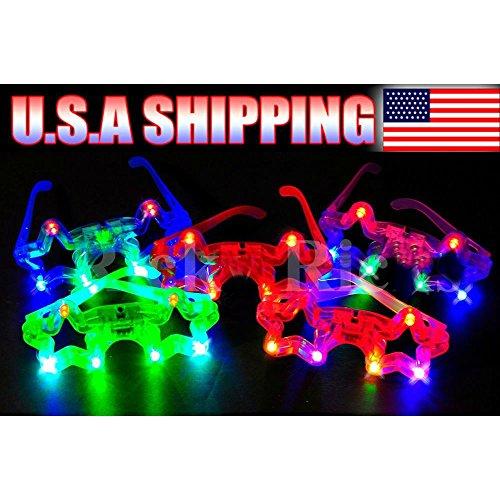 New 12 PCS Light-Up Star Glasses LED Flashing Blinking Sunglasses Rave Party - Blinking Sunglasses
