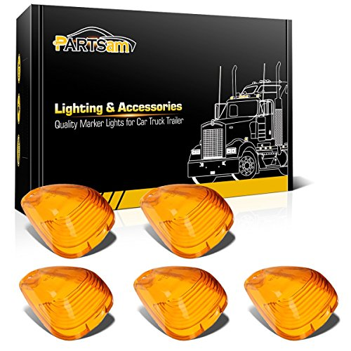 Partsam 5 Pack Amber Top Roof Running Light Cab Marker Clearance Light Lamp Lens Covers For 1999-2016 Ford E/F 150 250 350 450 550 Pickup Trucks (F-250 Pickup 1999 Ford)