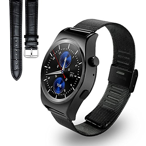Luxsure Bluetooth Smart Watch Waterproof Wrist Watch Phone with 1.3inches IPS circle bright Screen and Replaceable Strap Band Smartwatch for IOS iPhone and Android Smartphones (Black)