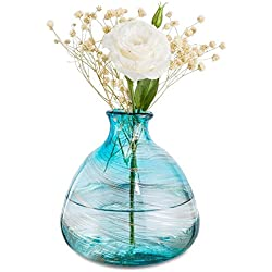 Mkono Blue Bud Vase Glass Wedding Flower Vase Hand Blown Art for Home Decor