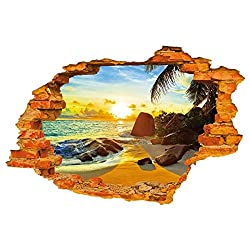 Wall Stickers - Sodial(r)3d Stereoscopic Sun Beach Fashion Creative Wall Stickers 60 * 90cm