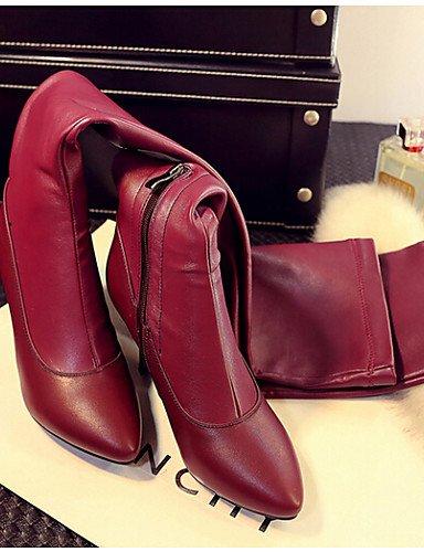 Cn39 Stiletto Cn36 us6 us8 Puntiagudos De Black Eu39 Tacón Uk4 Uk6 Poliéster Mujer Casual Xzz Zapatos Eu36 Rojo Negro Botas Red TZqAII