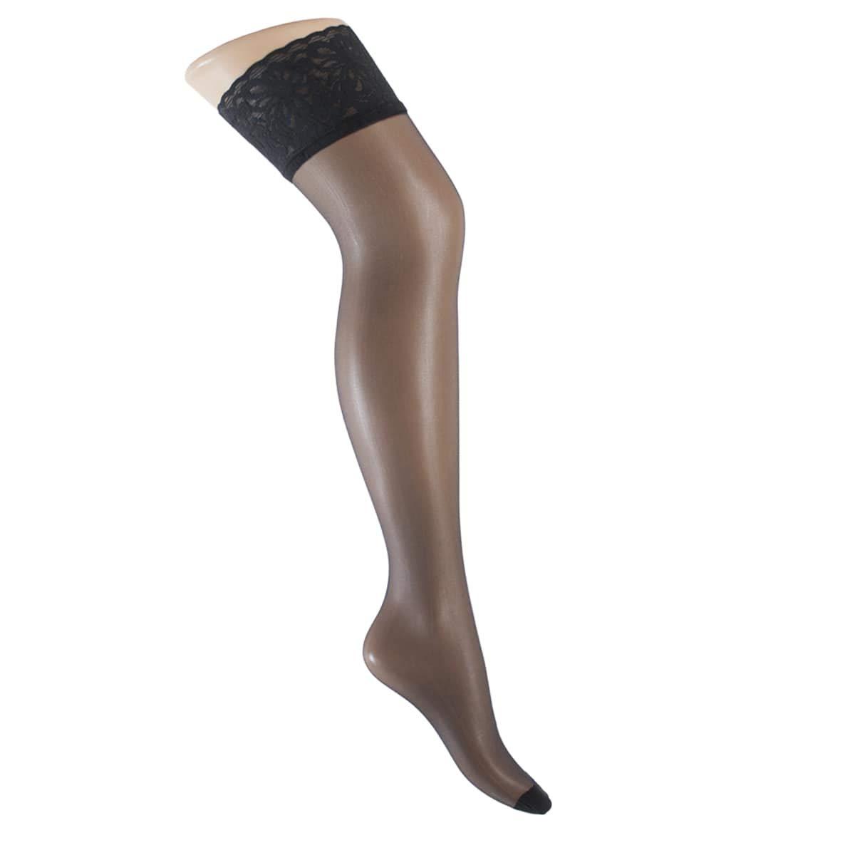 L'Elledue Pacco da 3 Calze Collant Autoreggenti Stay Up 15 DEN Setificata Opaca ed Elasticizzata con Balza in Pizzo Siliconata