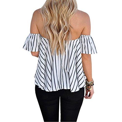 02b72b703d985 BOBIBI Women s Off Shoulder Stripe Casual Blouse Shirt Tops ...