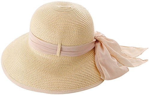 TAUT Women Wide Brim Travel Straw Sun Hat Natural Color w/ Pink Chiffon - Ray Pink Bands