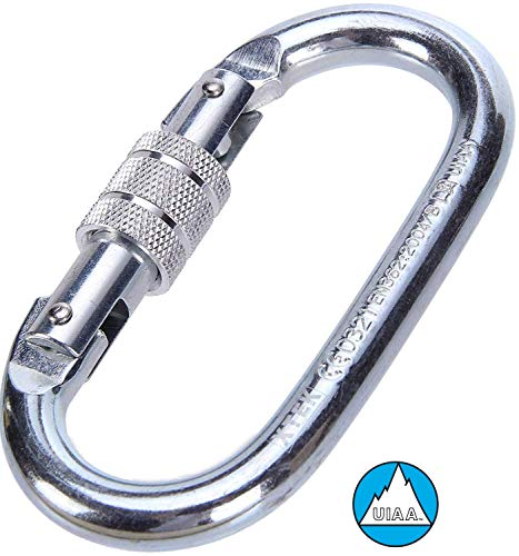 (O-Shaped Steel Climbing Carabiner(25kn=5600lb) Screw Lock Spring Gate,CE UIAA Rated Heavy Duty Carabiners for Rock Climbing Rappelling Hiking Hanging Ropes Camping Slack Lines)