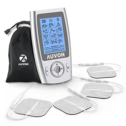 "AUVON FDA Cleared Dual Channel TENS Unit, Rechargeable 2-in-1 EMS Muscle Stimulator Machine with A/B Channel Independent Intensity Control Design and Premium 2"" Pigtail Electrode Pads for Pain Relief (Stimulator Channel)"