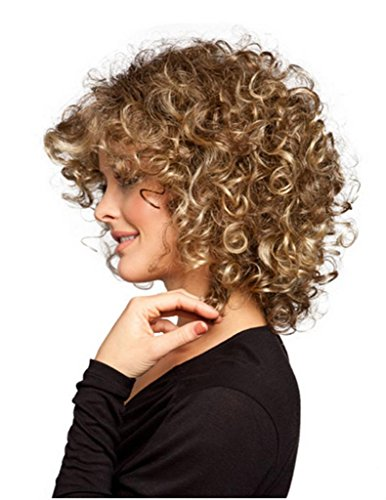 RainbowWigs Western Sexy Shoulder Length Light Brown Curly Party Hair Wig ST03