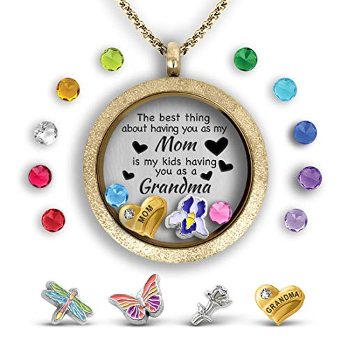 - A Touch of Dazzle Grandma Gifts Mother Daughter Necklace Floating Charm Locket Necklace Mothers Necklace for Mom Gifts from Daughter