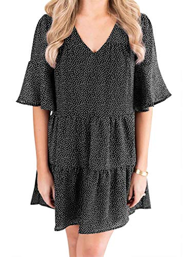 Berryou Women's 3/4 Bell Sleeve Shift Dress V-Neck Mini Dress Summer Casual Dress