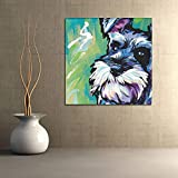 BFY Unframed Modern Abstract Oil Painting Watercolor Schnauzer Dog Huge Wall Decor Art On Canvas