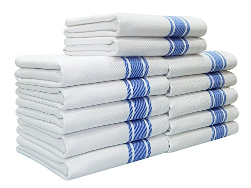 Kitchen Towels,100% Natural Cotton, 12 Pack, 27 x 17 inch, White with Blue Stripe, Absorbent & Quick Dry Tea towels, Value Pack of Dish Cloth Towels by Tiny ()