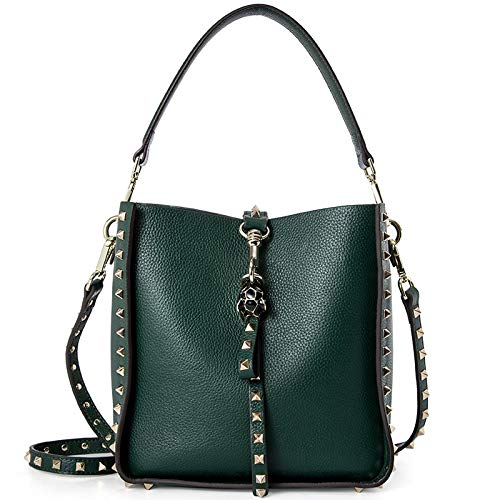 DarkGreen AI BAO Women's Spring Summer Leather Bucket Bag Large-Capacity Shopping Bag Shoulder Diagonal Tote Handbag