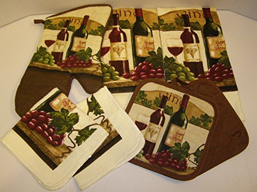 Bundle Of Kitchen Linens By Home Collection Featuring Kitchen Towels Pot Holders Oven Mitt Dishcloths 7 Wine Grapes
