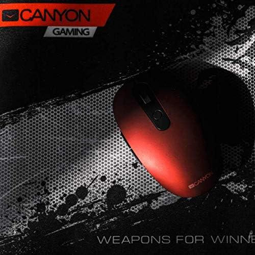CANYON Bluetooth Dual Mode et Souris Optique sans Fil avec 6 Boutons, DPI 800/1000/1200/1500, Rouge
