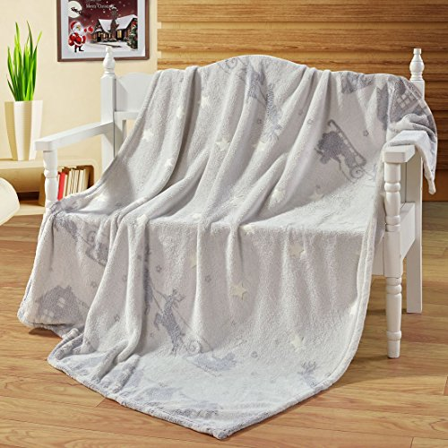 Decorative Velvet Star Shining Throw Blanket - Kids Gift Glowing in The Dark – Creative Flannel Plush Sofa Couch Car Chair Throws - Christmas Home Décor Deer Pattern Blanket Beige 60