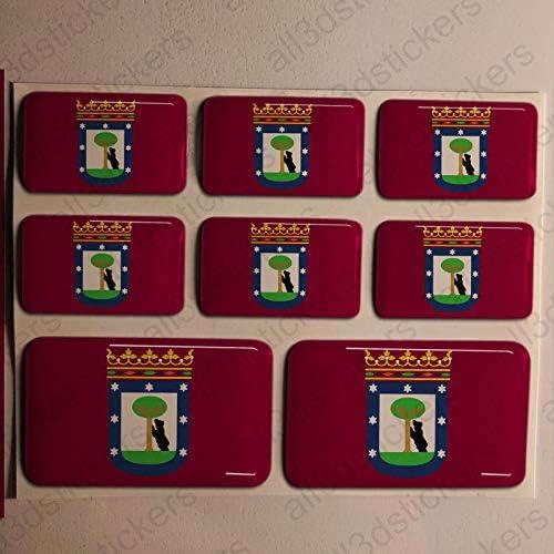 Pegatinas Madrid España Resina, 8 x Pegatinas Relieve 3D Bandera Madrid España Adhesivo Vinilo: Amazon.es: Coche y moto