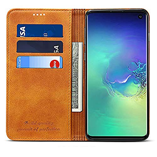 Leather Wallet Case for Samsung Galaxy S10 + Potective Phone Kickstand Flip Cover with Card Holder, Yellow