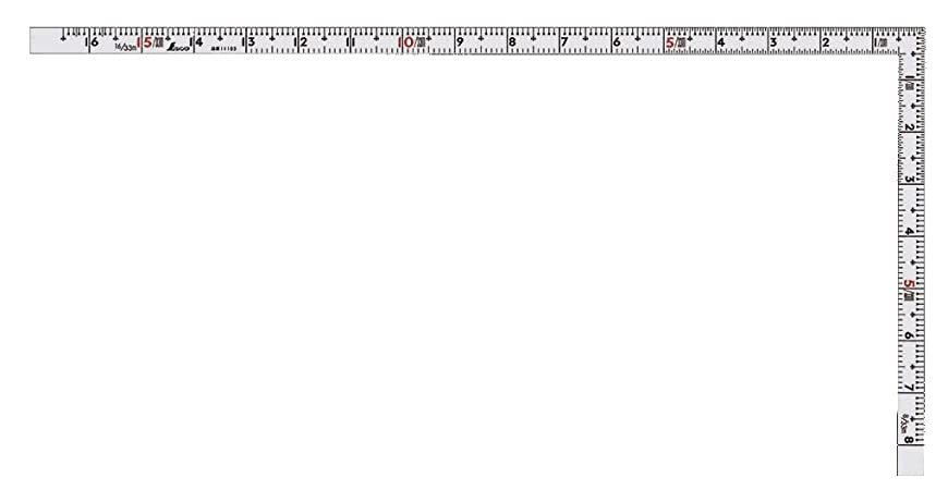 振る舞う編集する不規則なシンワ測定 曲尺 重宝 裏面角目付き 赤数字入 シルバー 1尺6寸 10372